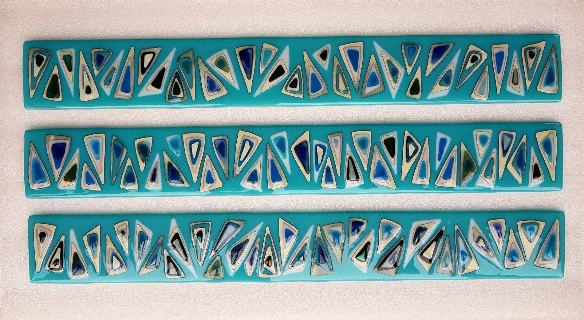 Zig Zag turquoise triptych
